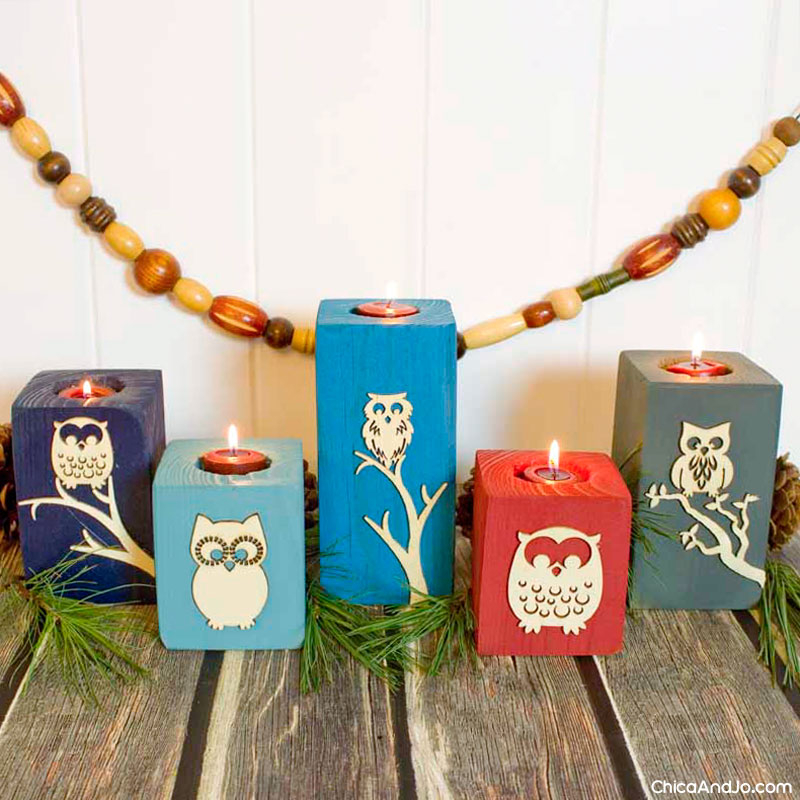 Owl upcycled wood candle holders