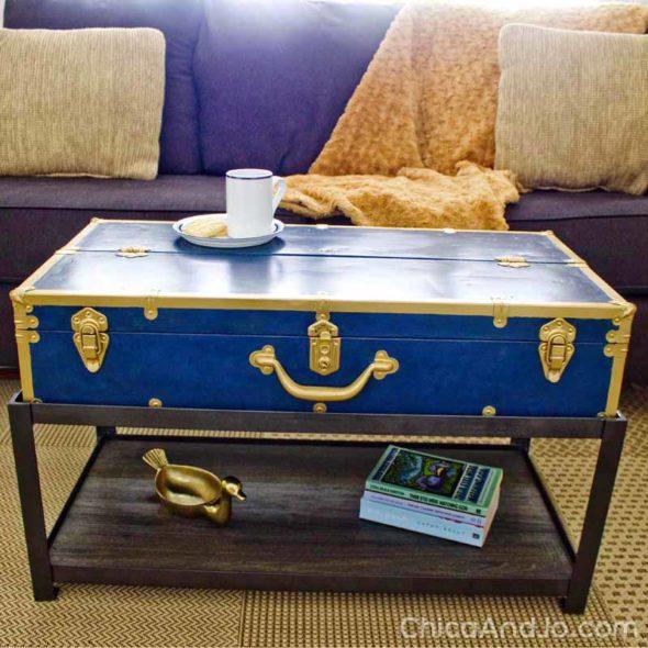Vintage foot locker trunk turned coffee table