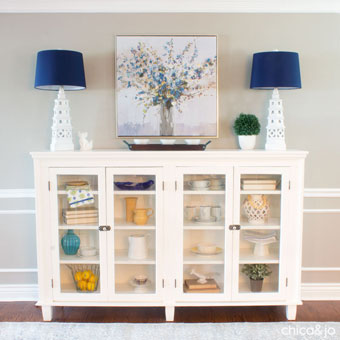 DIY faux fireplace made from an upcycled hutch