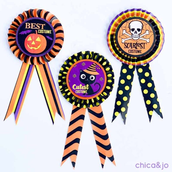 Halloween costume party prize ribbons and voting slips ...