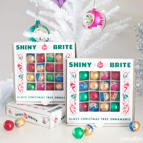 Shiny Brite vintage ornament favor boxes