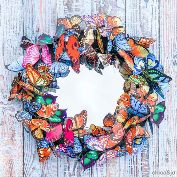 Spring butterfly mirror decor