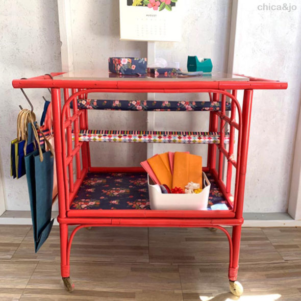 Flea market find gift wrapping cart