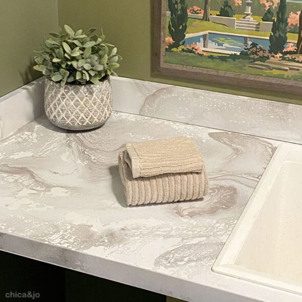 Hydro-dipped faux marble countertop