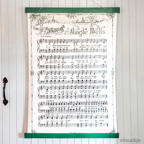 Jingle Bells  vintage sheet music wall hanging